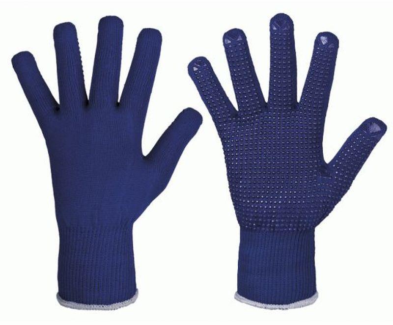 F-STRONGHAND-Strick-Arbeits-Handschuhe, ZIBO, blau mit blauen Nop