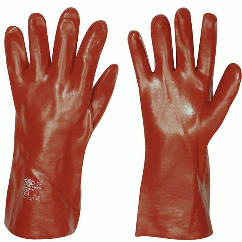 F-STRONGHAND-PVC-Arbeits-Handschuhe, DENVER, rot