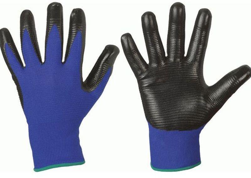 f stronghand nitril arbeits handschuhe profilgrip blau schwarz. Black Bedroom Furniture Sets. Home Design Ideas