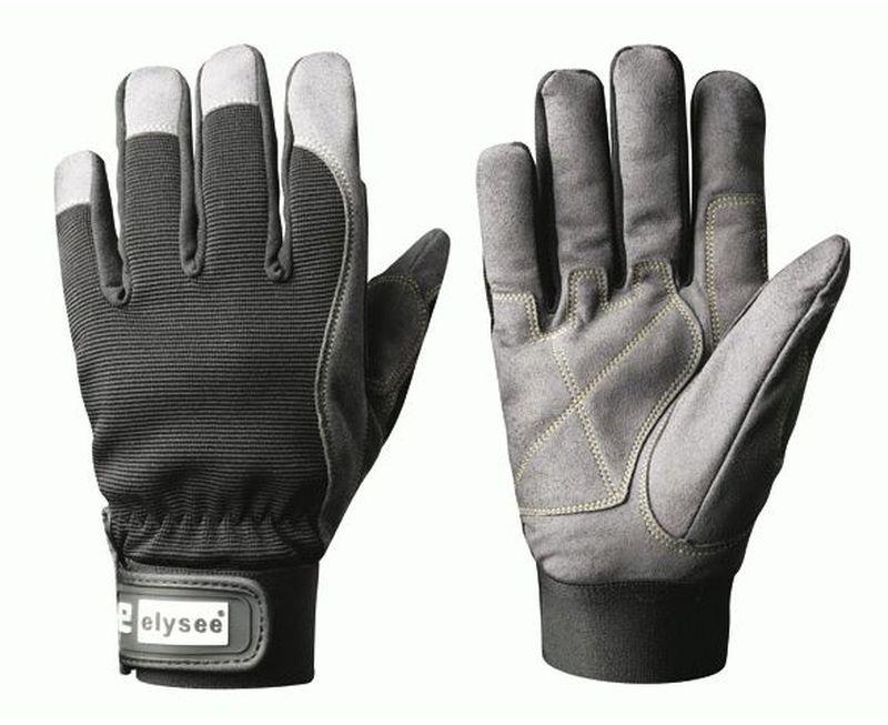 F-ELYSEE, Kunst-Leder-Arbeits-Handschuhe, RIGGER, schwarz/grau