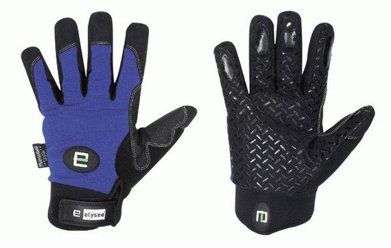 F-ELYSEE, Kunst-Leder-Arbeits-Handschuhe, FREEZER, schwarz/blau