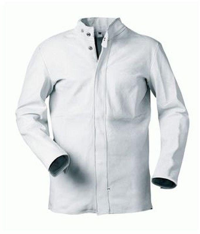 F-CRAFTLAND Schweißer-Arbeits-Schutz-Berufs-Jacke, Leder-Bekleidung, EDGAR, weiß