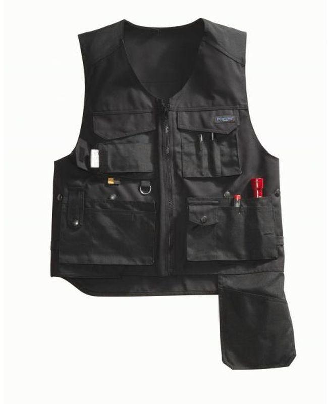 PIONIER Montage-Arbeits-Berufs-Weste, Canvas Workwear, ca. 300 g/m², schwarz