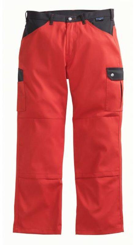 PIONIER-Workwear-Arbeits-Berufs-Bund-Hose, Top Comfort Stretch, MG 285, rot/schwarz