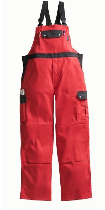 PIONIER Arbeits-Berufs-Latz-Hose, Top Comfort Stretch, MG 285, rot/schwarz