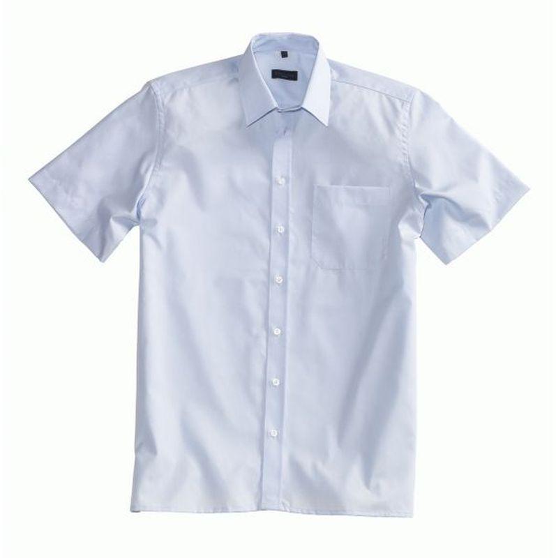 PIONIER-Workwear-Herren-Business-Arbeits-Berufs-Hemd, Kent-Kragen, 1/2-Arm, BW, hellblau