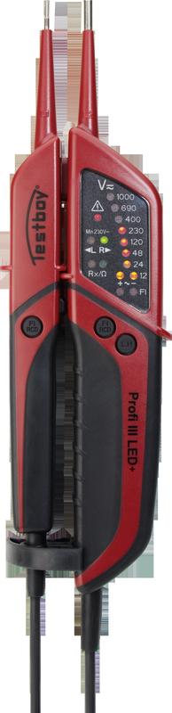 TESTBOY Profi III LED+, zweipoliger Spannungsprüfer, Prüf-Mess-Gerät, mit FI-Test