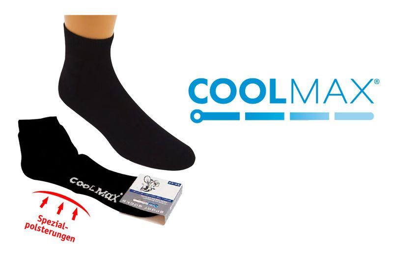 WOWERAT-COOLMAX Sport- und Bike-Socks, Kurzschaft-Funktionssocken mit Frotteesohle, schwarz