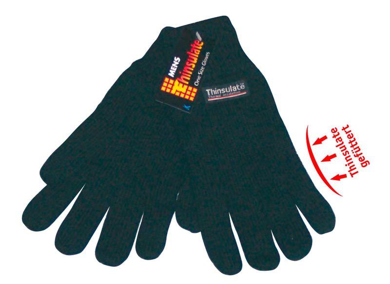 WOWERAT Herren-Thermo-Winter-Arbeits-Handschuhe, Thinsulate schwarz