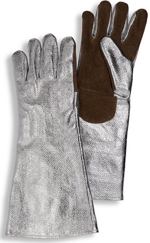 HB-Flammen-/Schweißerschutz-5-Finger-Arbeits-Handschuhe, 330 mm lang, silber/braun