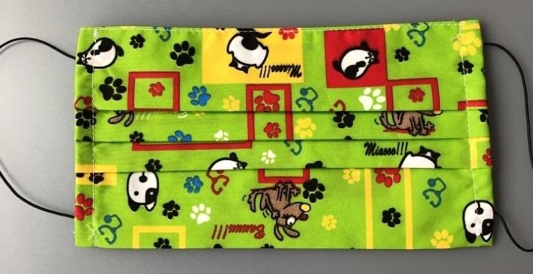 Giblor-Mehrweg-Mundschutz-Gesichtsmaske (wiederverwendbar) mit Gummizug, Hund und Katze, VE: 2 Stück