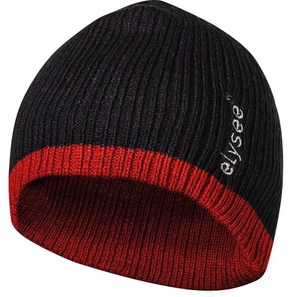 FELDTMANN Thinsulate-Winter-Mütze, HOLGER, schwarz/rot abgesetzt