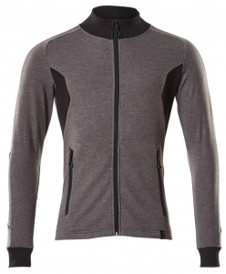 MASCOT-Sweatshirt mit Reißverschluss, ACCELERATE, 310 g/m², dunkelanthrazit/schwarz