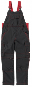 BEB-Latzhose Inflame Black Edition, 245 g/m², schwarz/fire engine red