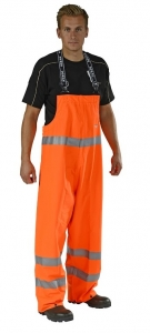 OCEAN-Warnschutz-Regen-PU-Latzhose, High-Vis, 170g/m², orange